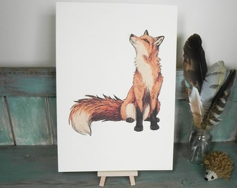 Fox Illustration ~ A4 Print on 270gsm Card available in 3 Colours