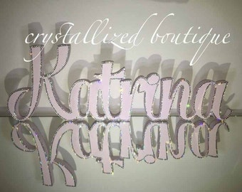 Custom name plaque encrusted with swarovski elements.