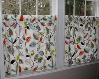 "Covington Green Leaf Cafe Curtains 80"" wide x 30"" long Leaves Lime Green Aqua Blue Orange Brown Ivory Floral"