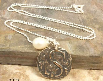 Bronze and Sterling Silver Initial Necklace