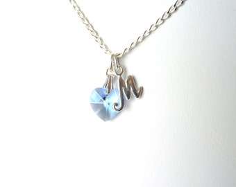 Childrens Necklace Initial, Heart Necklace Personalized, Heart Necklace for Children, Kids Jewelry Necklace, Letter Necklace for Kids