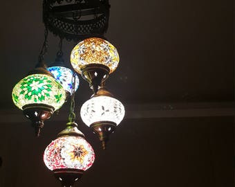 Mosaic Lamp 110-240v Handmade Chandelier Glass