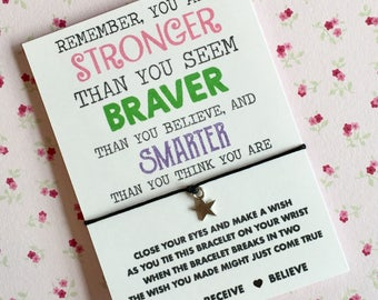 You are stronger, braver, smarter than you believe wish string! Friends wish string! Buy 5 get 1 free!