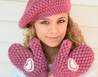 Crochet Mittens and Hat Set, Candy Pink Mittens, Crochet Mittens,Crochet Gloves, Crochet Hat, Gift For Her