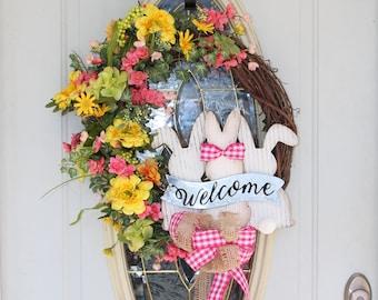 Easter Bunny Wreath, Easter Grapevine Wreath, Spring Welcome Wreath, Bunny Wreath