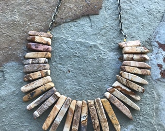 Southwestern/boho style picture jasper stick bead necklace
