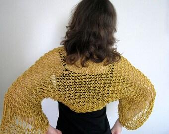 Organic Cotton Golden Mustard Color Lacy Shoulder Shrug Bolero Sleeves