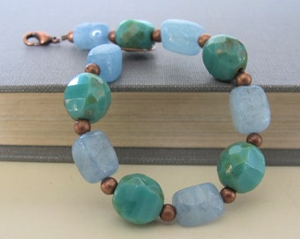Aquamarine Bracelet, Copper Bracelet, Gemstone Jewelry, Czech Glass, Pale Blue, Turquoise Glass, Copper Jewelry