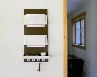 OFFICE MAIL ORGANIZER: Mail Holder and Shelf with Key Hooks for Modern Home, Office, Entry or Dorm.  Wall Mounted Mail Organization.