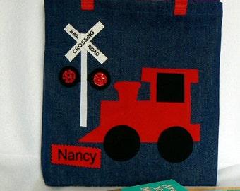 Personalized Tote Bag|Kids Library Bag|Tote Bag Personalized Train Gift|Kids Book Bag|Toddler Tote Bag|Gift For Nephewl Bag|Boys Tote Bag