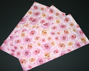 50 NEW 6x9 Designer Poly Mailers Roses Pink Peach Flowers Self Sealing Envelopes Shipping Bags