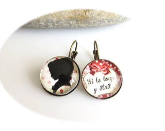 "Earrings cabochon ""If the Wolf was here"""