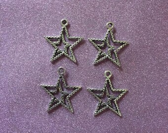4 Antique Silver Star Charms