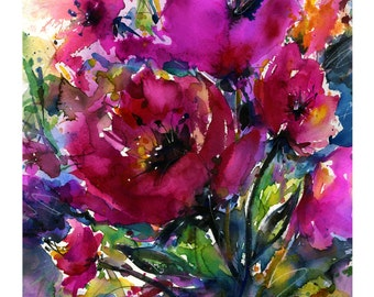 """Pink Poppy Flower Watercolor Painting - Floral art archival print from original painting """"Jubilation""""  by Kathy Morton Stanion EBSQ"""