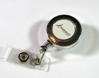 """Vintage ANGIOTECH Advertising Retractable ID Name Badge Holder Stainless Steel Reel Clip On 1"""" Diameter"""