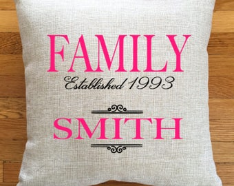 FAMILY Custom Pillow, Established Pillow, Personalized Pillow, Toss Pillow, Family Pillow, Name Pillow