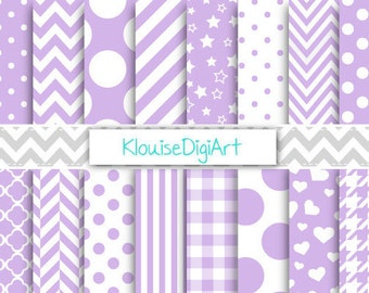 Lilac Purple and White Digital Printable Papers for Personal and Small Commercial Use (0048)