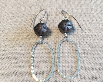 Bronze glass and silver earrings