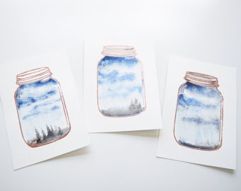 Storm in a Jar, Storm Clouds Watercolor, Stormy Watercolor Painting