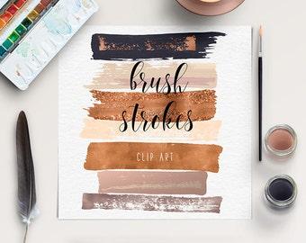 FEMININE | Brush Stroke Clip Art | Copper, Gold Rose Clipart | Hand Painted Clip Art | Acrylic Brush Strokes | Paintbrush Strokes | BUY5FOR8