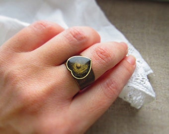 Rustic Mustard Seed ring jewelry, Faith ring Faith jewelry. Unique Mustard Seed jewelry gift. Heart ring for her Faith gift