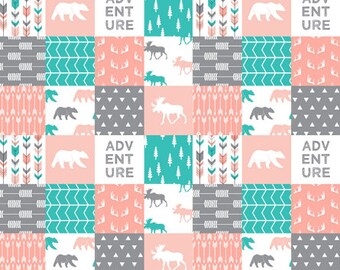 Adventure Baby Quilt Teal Coral Grey Gray Bear Moose Antler Coral Minky Blanket Woodland Baby Girl Crib Quilt Patchwork Girl Blanket
