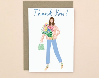 Illustrated Thank You Card A6