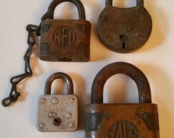 Reduced. 4 vintage locks, no keys