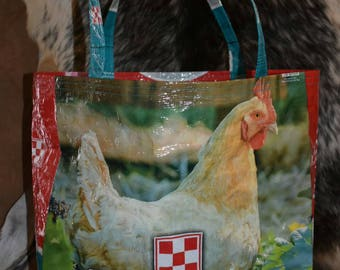 Recycled purina chicken feed sack w/a hen tote/bag/purse/shopping bag farm/country