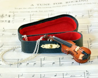 Violin Necklace in Case - Violin Gift - Music Jewellery - Fiddle Necklace