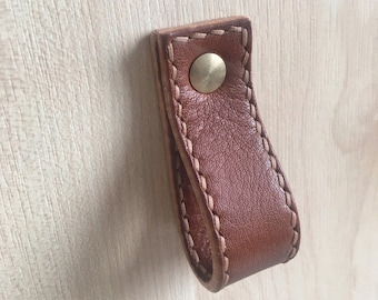 Hand-Stitched Leather Loop Pulls for Drawers