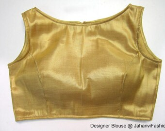shimmer blouse with boat neck style - with back hole - Sleeveless blouse - princess cut blouse - designer blouse - Sari Blouse
