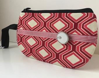 Red Retro Fabric Wristlet, IPhone Wristlet, SmartPhone Wristlet, Zippered Wristlet