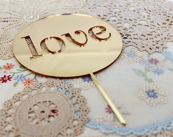 Cake Topper Wooden Bamboo Acrylic Mirror Glitter Wedding Engagement Party - Love