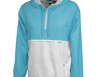 Monogrammed Pullover Wind and Rain Jacket Aqua