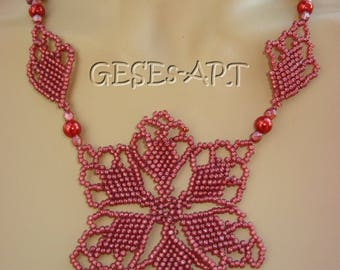 110 Ornament Necklace + Earrings Garnet Red