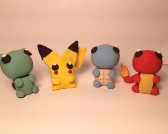 "Choose a 2"" Pokemon Clay Figure, nintendo, anime, chibi, charm, pokemon go, pikachu, kanto starters,"
