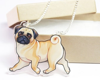 Fawn Pug Acrylic Dog Necklace