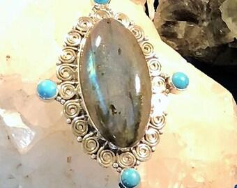 Large Labradorite and Turquoise Pendant
