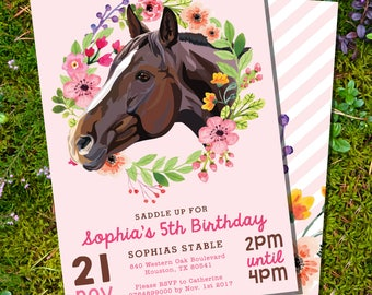 Horse Party Invitation - Horse Birthday Party Invitation - Pink Horse Party Invite - Instantly Download and Edit at home with Adobe Reader