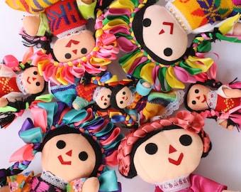 Handmade Doll, Mexican Rag Doll, Maria doll, Frida Kahlo doll, Indigenous Folk doll, day of the dead doll, Mexican Rebozo Aztec fabric,