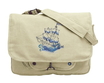 Pirate Ship Messenger Bag, Ship Canvas Bag, Pirate School Bag, Ship Bookbag, Ocean Blue - Sunken Ship Embroidered Canvas Messenger Bag
