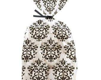 20 Black Damask Cello Party Treat Bags w/ Ties, 9 x 4 x 2 inch, by Wilton