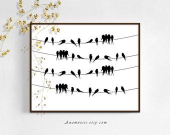 BIRDS ON A WIRE - digital téléchargement - image vintage oiseau graphique imprimable par anamnèse - image transfer - totes, estampes, oreillers, vêtements