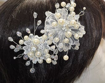 Crystal Hair Comb, Wedding Hair Comb, Bridal Hair Comb,  Pearl Hair Comb, Floral Hair Comb, Bridal Headpiece,Swarovski shine #30729