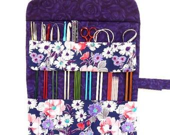Purple Knitting Needle Roll Up, 17 Pockets For Straight Needles and Crochet Hooks, Crochet Hook Holder, Needle Storage, Needle Organizer