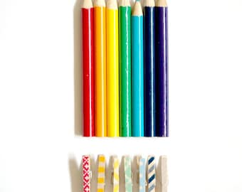 Mini Pegs - Rainbow Home Office || Choose Your Own Set of 8 Clothes Pins || Tiny Wooden Pegs for Gift Wrapping || Stationery Clothespins