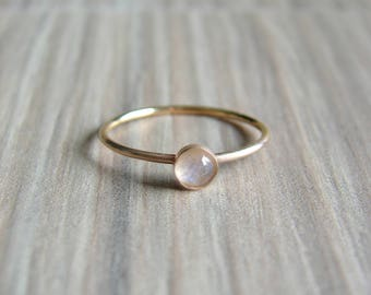 Moonstone Ring for Her, Gemstone Stacking Ring, Metaphysical Moonstone Jewelry for Women, Anniversary for Her, BOHO Ring, Ring Size 6