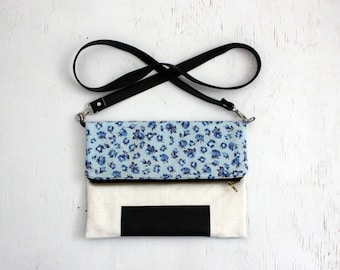Foldover Clutch Purse; everyday bag, cross body purse, fabric handbag, fabric purse, small crossbody bag, vegan purse, crossbody purse