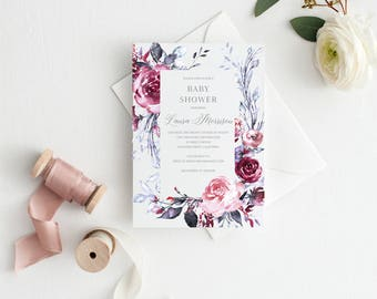 Printable Baby Shower Invitation Template, Floral, Baby Shower invite, Gender Neutral, Invitation, Baby Shower Invites,Invite,Baby